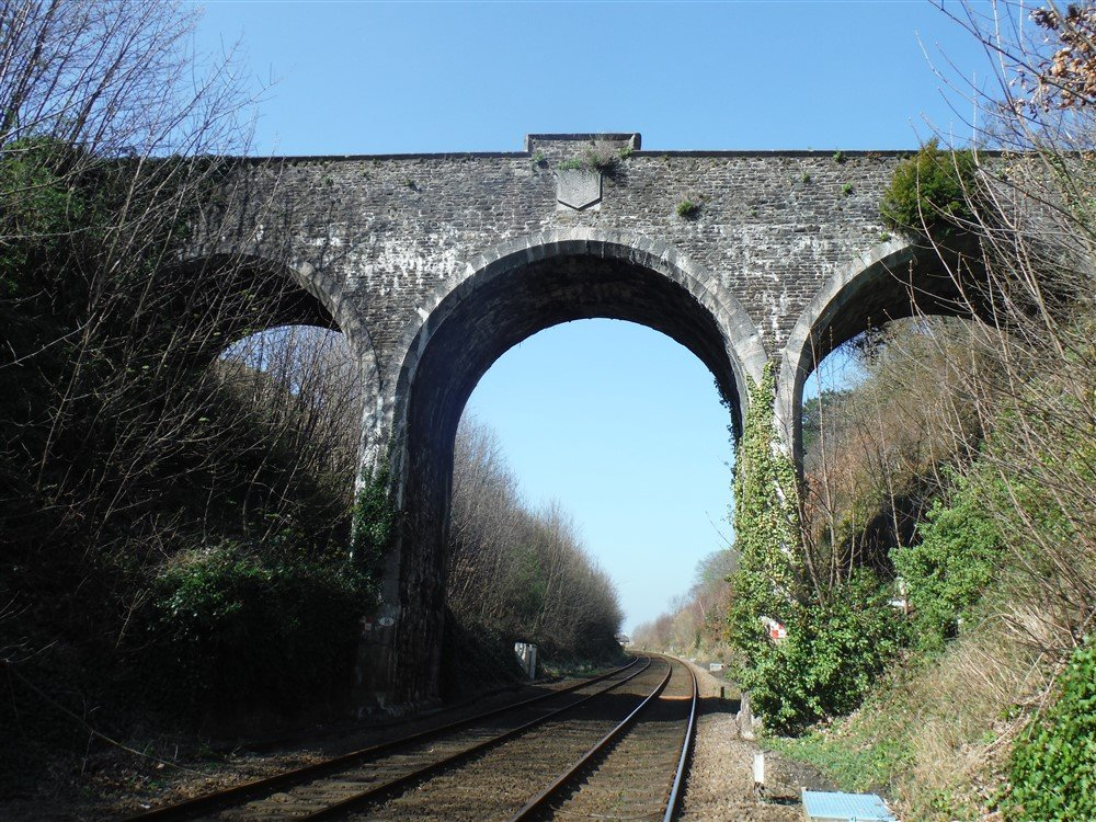 A large multiple span brick overbridge.